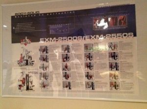 Image showing the wall exercise guide included with the Body-Solid EXM2500S