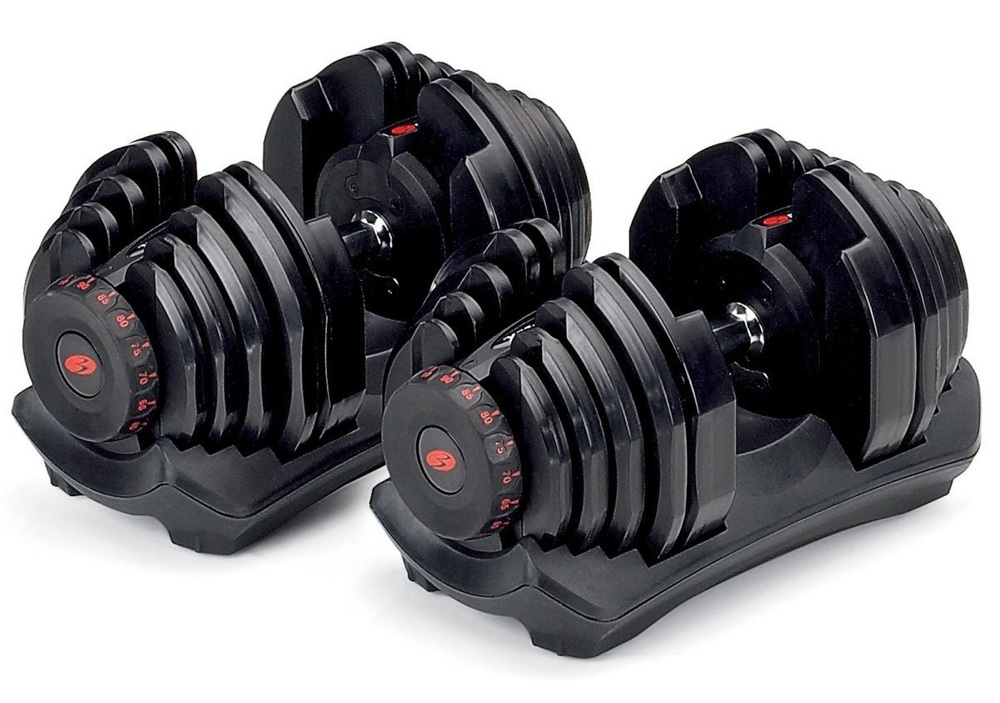 Product image of a new set of all-black Bowflex SelectTech 1090 adjustable dumbbells