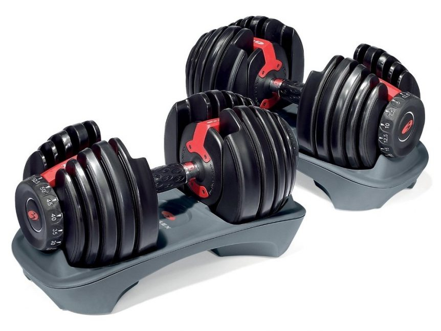Product image of new red and black Bowflex Selecttech 552 adjustable dumbbells
