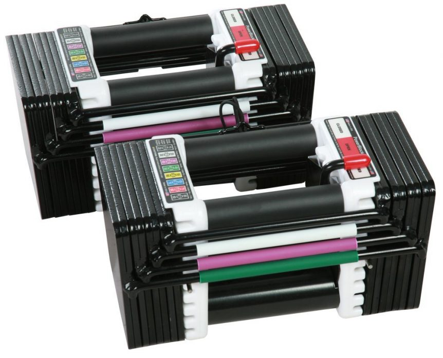 Product image of a new pair of PowerBlock Elite adjustable dumbbells