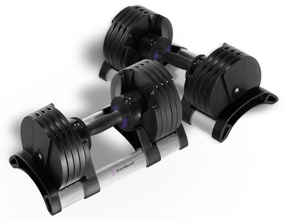 Product image of a set of all-black StairMaster TwistLock adjustable dumbbells