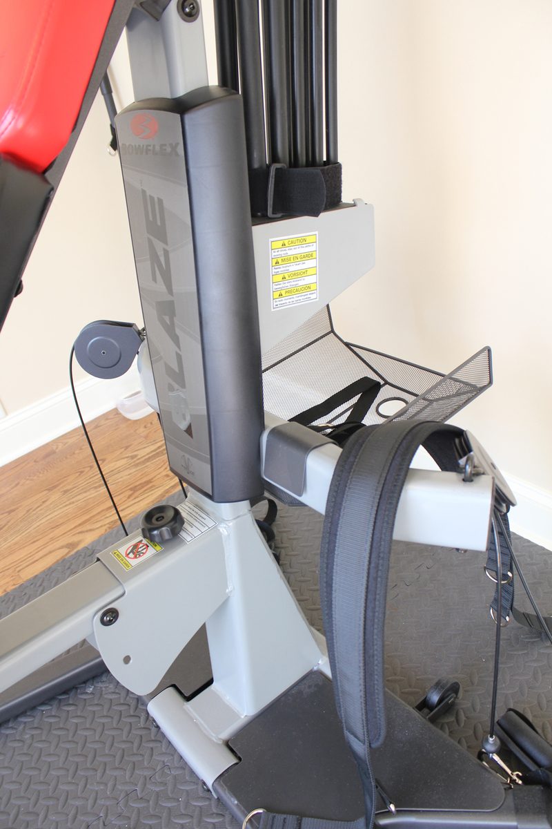 Image of the accessory basked that's attached to the back of the Bowflex Blaze home gym
