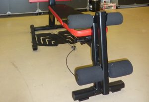 Image of the leg curl attachment that is installed on the end of the Bowflex PR1000