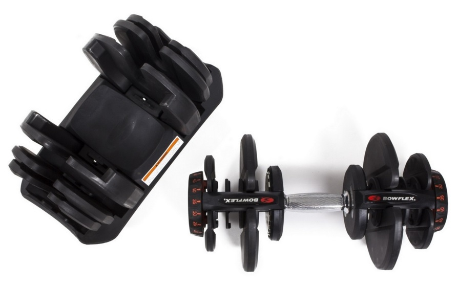 Image showing the overhead view of the Bowflex SelectTech 1090 handle and its base cradle
