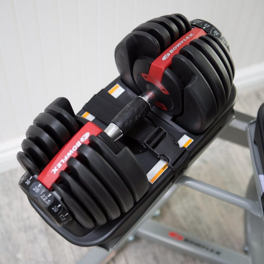 Image of a single Bowflex SelectTech 552 adjustable dumbbell on its stand