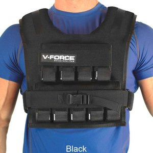 Preview showing a black V-Force weighted vest strapped onto a person