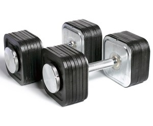 Preview image of an iron and steel set of Ironmaster adjustable dumbbells
