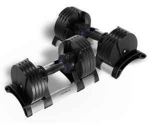 Preview image of a set of all-black StairMaster TwistLock adjustable dumbbells