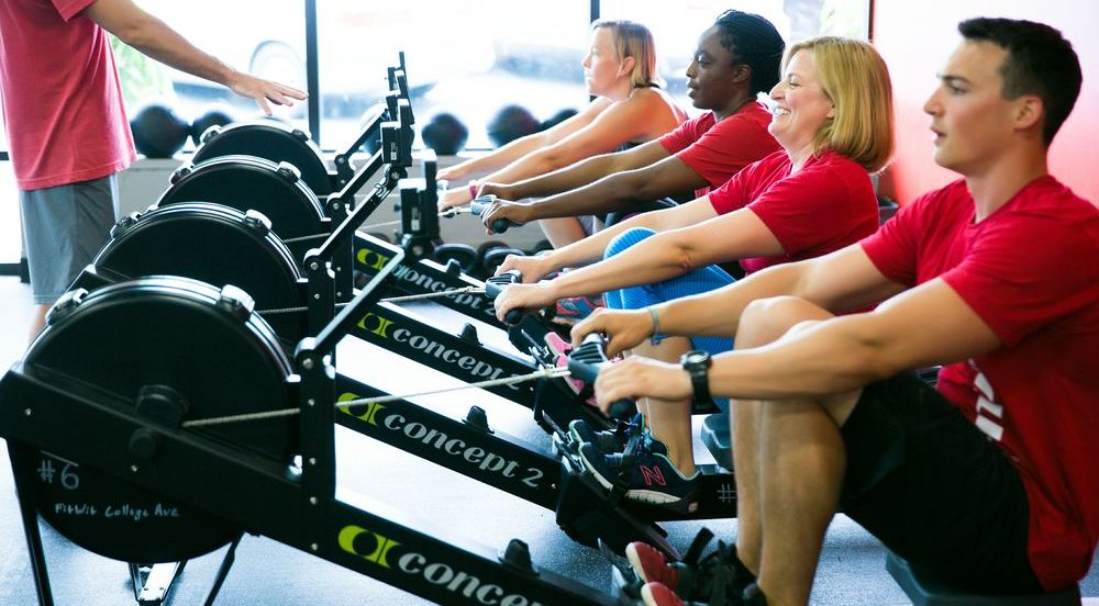 Image of a rowing class in a fitness studio