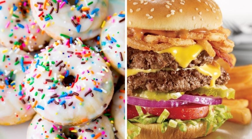 Image showing donuts and burgers for the sugar vs fat study