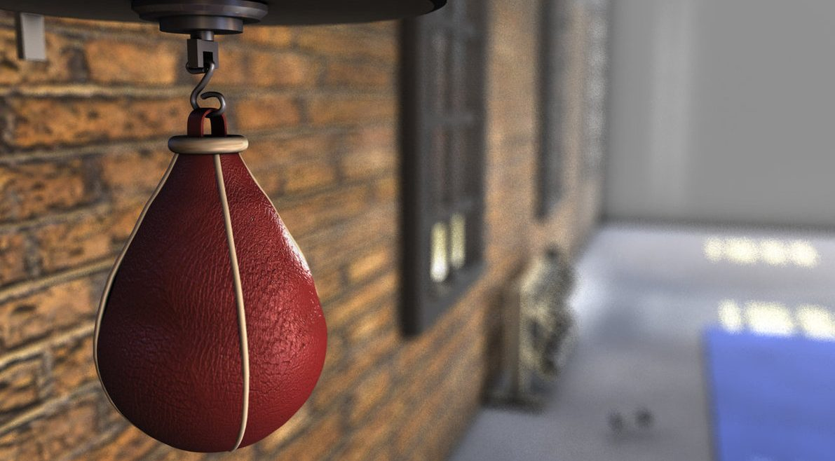 Image of a speed bag hanging in a boxing gym