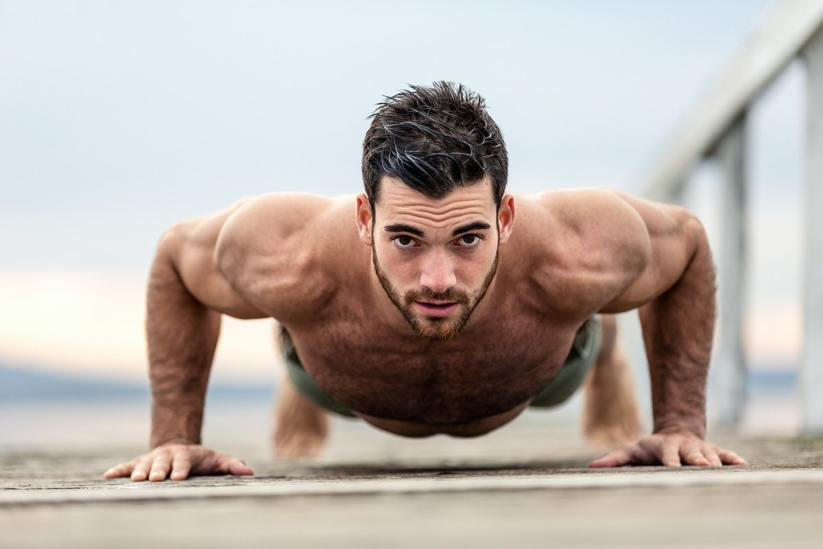 Image of a man doing push ups