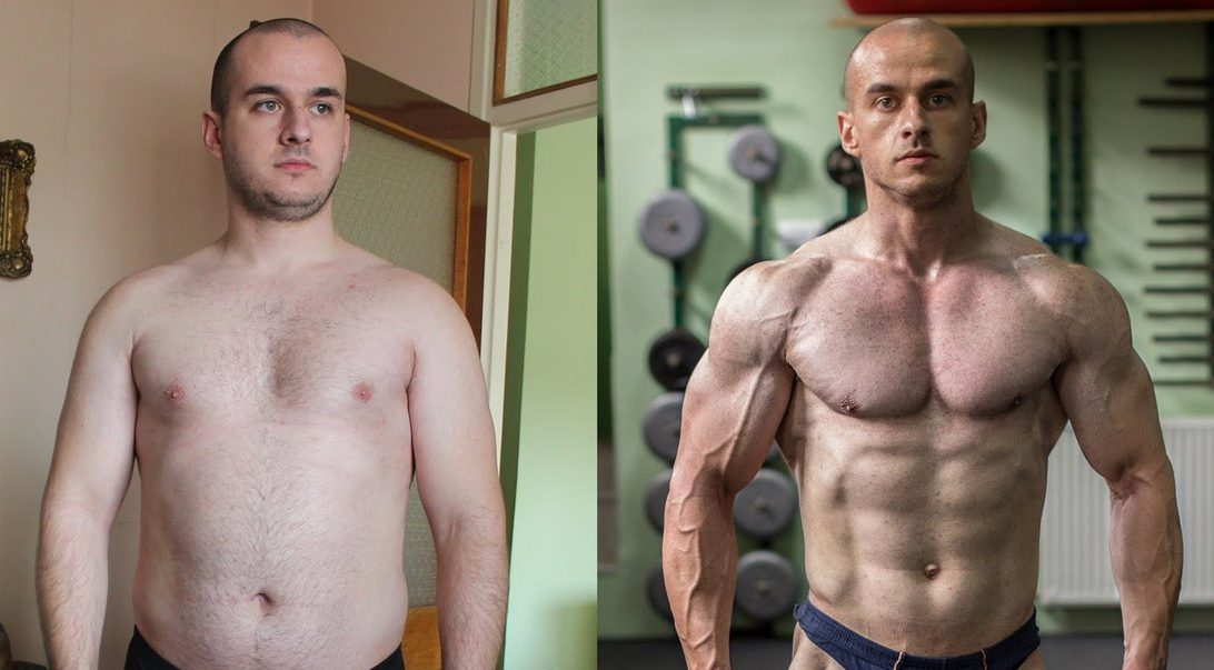 Image of a man's impressive body transformation gaining muscle