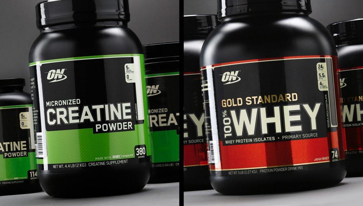 Image of creatine vs whey protein powder