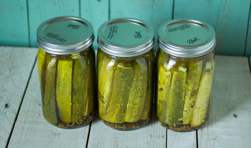 Image showing three jars of pickles