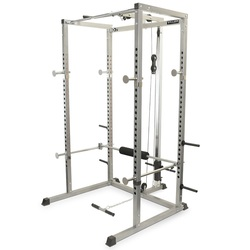 Image of a Valor Fitness BD-7 Power Rack with multiple attachments