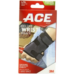 Image of a product box containing the ACE Deluxe Wrist Brace