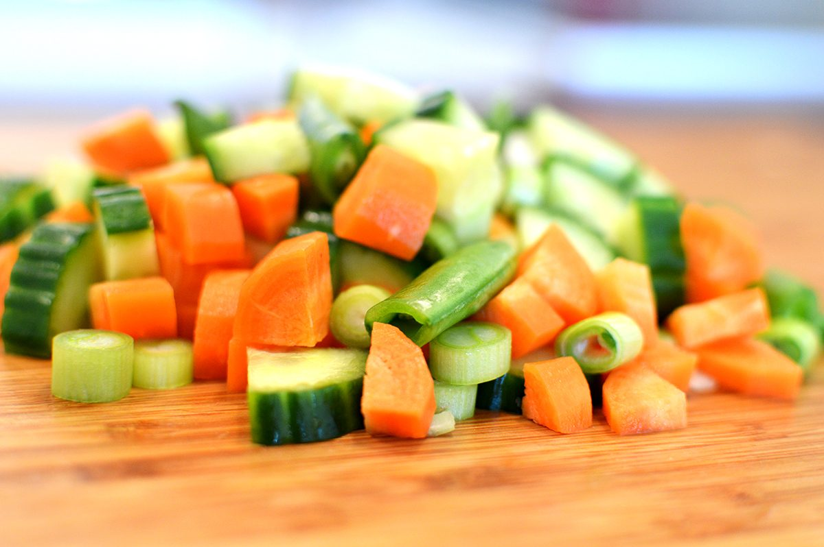 Image showing chopped vegetables on a cutting board