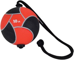Image of a red 10lb Power Rope Medicine Ball