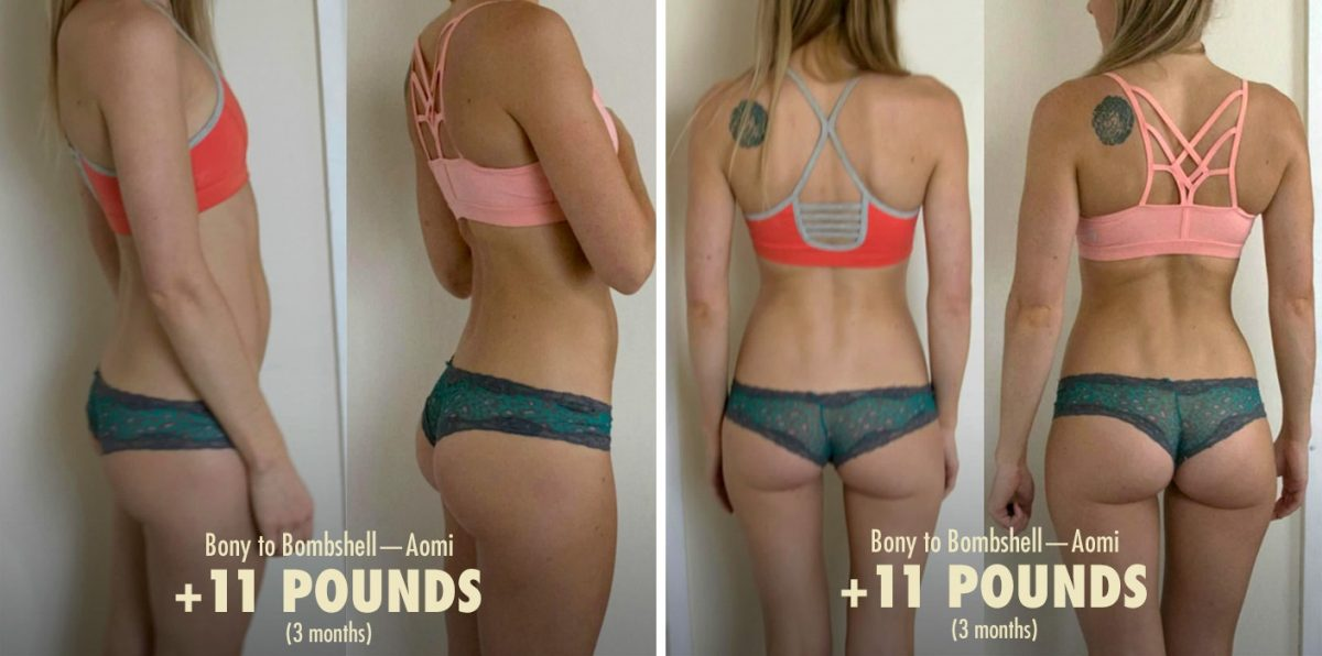 Image of a woman's body transformation after gaining healthy weight