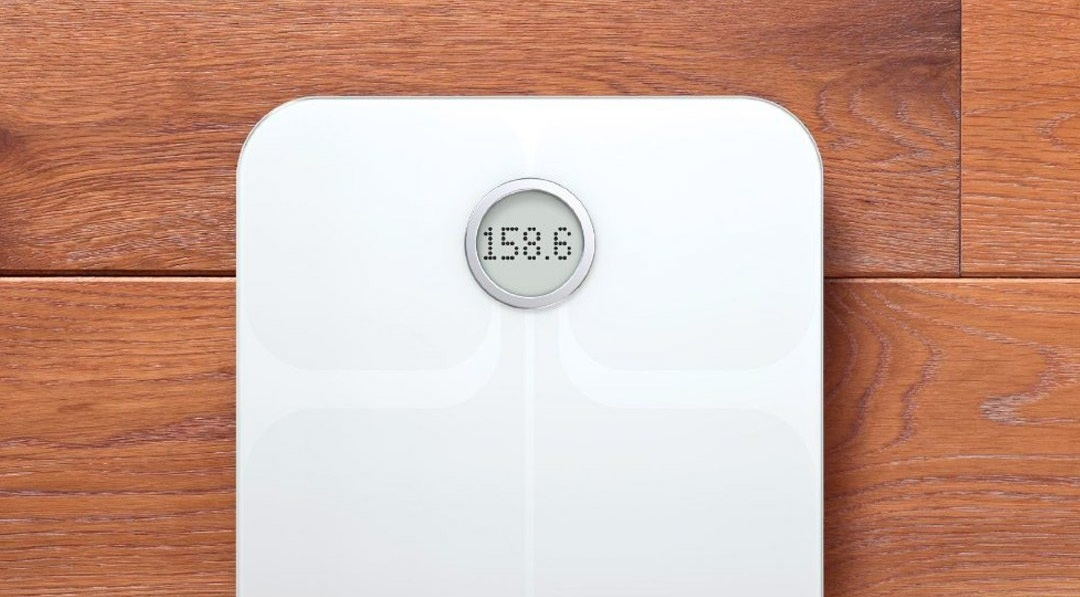Image of a body fat scale on a wood floor
