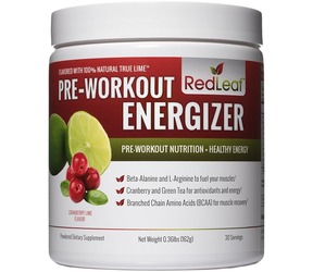 Product image of a container of Red Leaf Pre-Workout Energizer