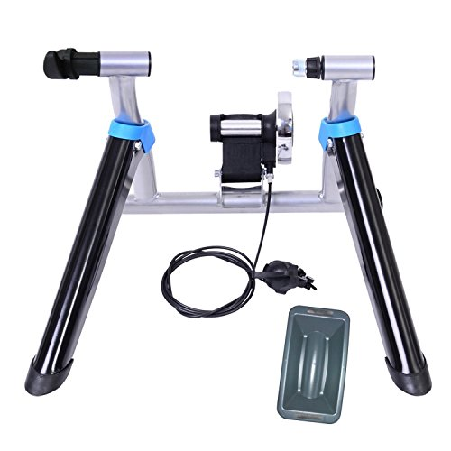 Image of the 8 Levels Magnetic Resistance Indoor Bike Trainer Quiet Smooth Pedaling Bicycle Exercise Trainer Stand w Quick Release Skewer and Front Wheel Block