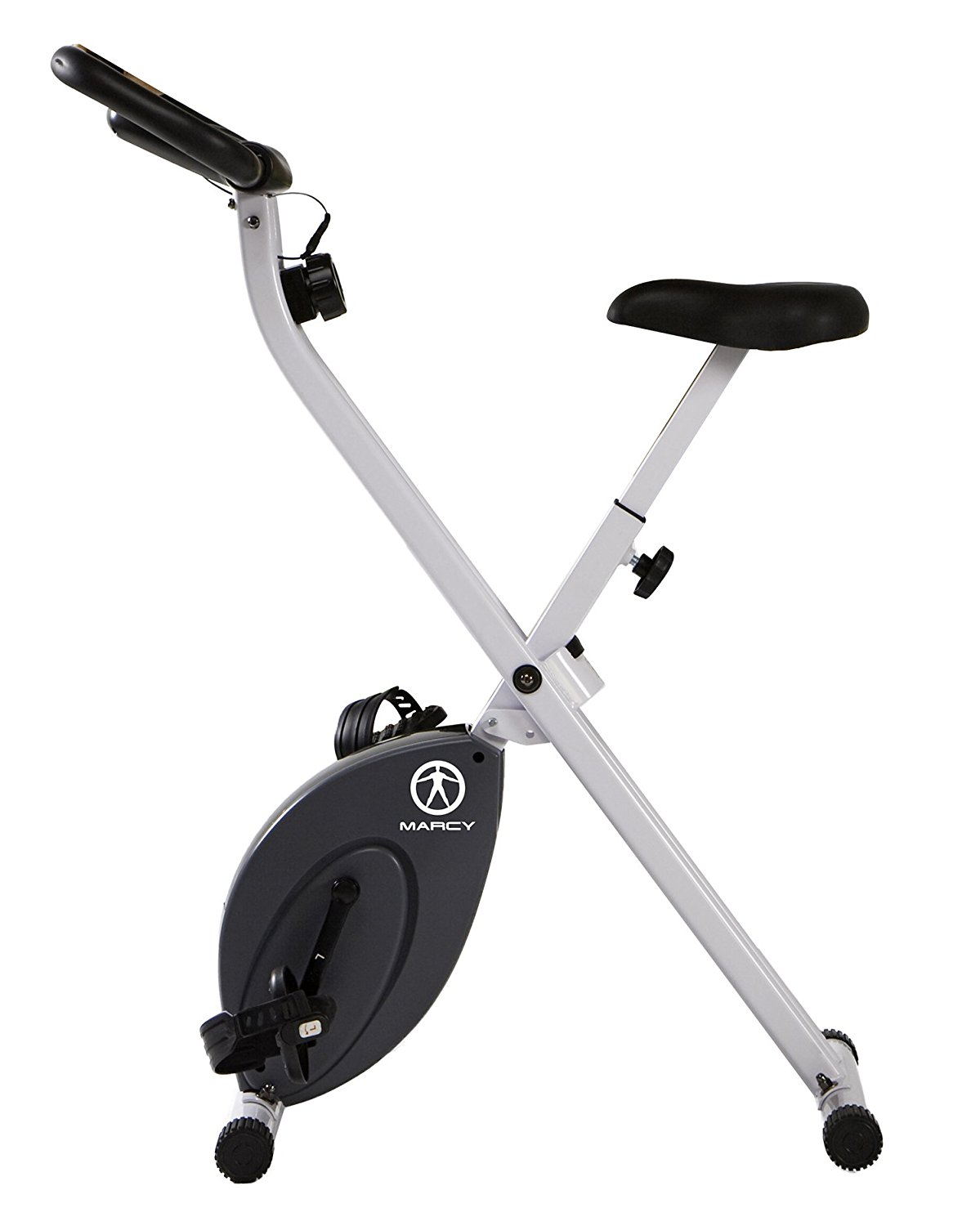 Marcy Foldable Upright Exercise Bike with Adjustable Resistance for Cardio Workout /& Strength Training