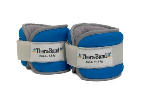 Image of the TheraBand Ankle Wrist Weights, Comfort Fit Cuff Weight Set, Adjustable Walking Weights for Home Workout, Ankle Strengthening & Physical Therapy, Blue, 2.5 lb. Each, Set of 2, 5 Pounds