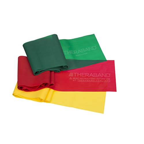 Image of the TheraBand Non-Latex, Elastic Resistance Bands Set for Physical Therapy, Yellow, Red, Green, Beginner