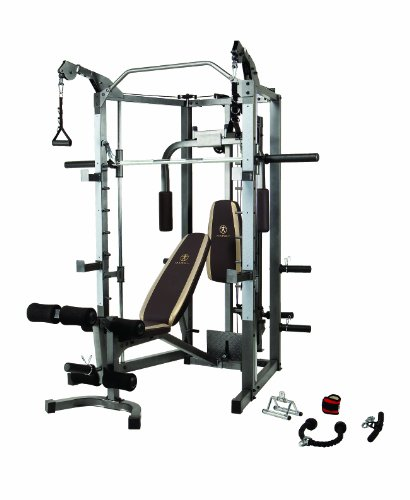 Image of the Marcy Smith Cage Machine with Workout Bench and Weight Bar Home Gym Equipment SM-4008