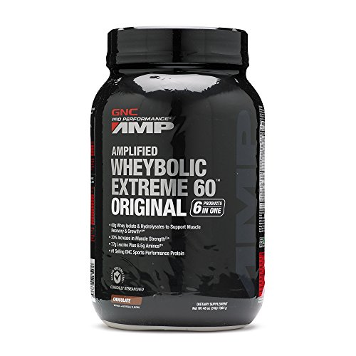 Image of the GNC Pro Performance AMP Amplified Whey-Bolic Extreme 60 Original Powder, Chocolate, 3 Pound
