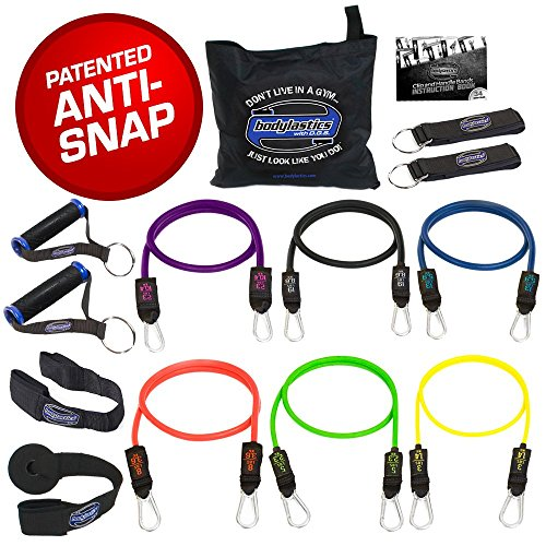 Image of the Bodylastics Stackable (14 Pcs) MAX XT Resistance Bands Sets. This Leading Exercise Band System Includes 6 of Our Best Quality Anti-Snap Exercise Tubes, Heavy Duty Components, and a Travel Bag