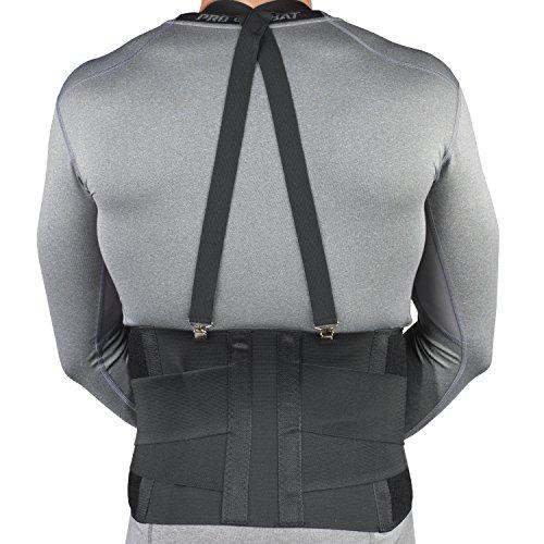 Image of the CHAMPION Industrial Belt Back Brace Abdominal Support Shoulder Straps, Black, Regular