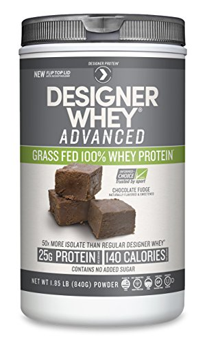 Image of the Designer Protein Whey Grass-Fed Advanced Natural Whey Protein Powder, Chocolate Fudge, 1.85 Pound