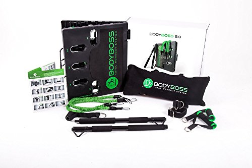 Image of the BodyBoss Home Gym 2.0 - Full Portable Gym Home Workout Package + Set Of Resistance Bands - Collapsible Resistance Bar, Handles - Full Body Workouts For Home, Travel or Outside