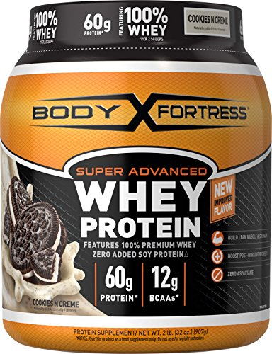 Image of the Body Fortress Super Advanced Whey Protein, Cookies N' Creme Protein Supplement Powder to Build Lean Muscle & Strength 1-2lb Jar.