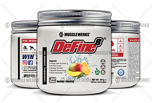 Image of the DeFine8: Fat Burner for Women and Men, Pre-Workout Thermogenic - Mango Orange - NEW ADVANCED FORMULA, Appetite Suppressant, Boosts Metabolism & Curbs Sweet Cravings for Weight Loss. 30 Servings