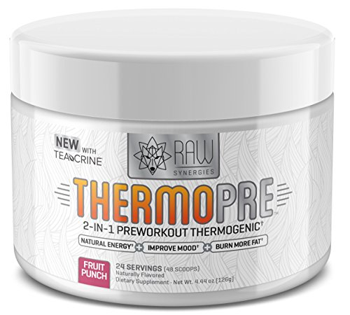 Image of the RAW Synergies Pre Workout Thermogenic Fat Burner Powder for Women and Men, All Natural Energy & Weight Loss Supplement – Focus & Metabolism Booster Drink – No Artificial Sweeteners, Fruit Punch, 2