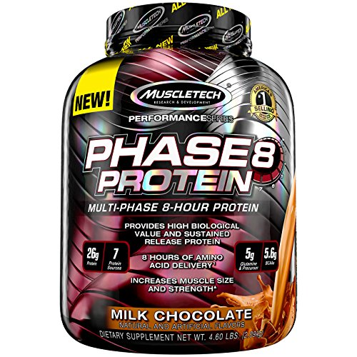 Image of the MuscleTech Phase8 Protein Powder, Sustained Release 8-Hour Protein Shake, Milk Chocolate, 4.6 Pounds (2.10kg)