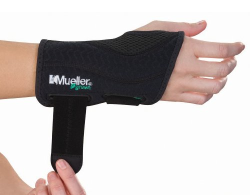 Image of the Mueller Fitted Wrist Brace Green Line Number 86271 - Right Fitted Wrist Brace - SM/MD 5-8