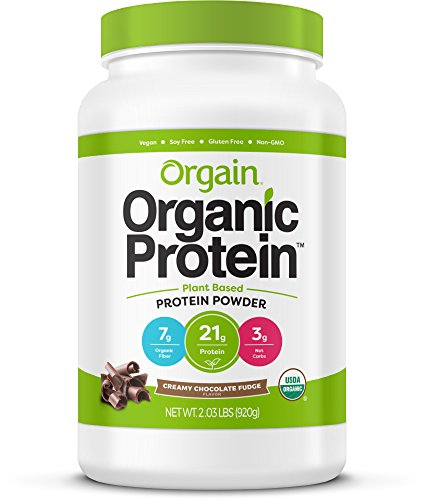 Image of the Orgain Organic Plant Based Protein Powder, Creamy Chocolate Fudge, 2.03 Pound, 1 Count, Vegan, Non-GMO, Gluten Free, Packaging May Vary