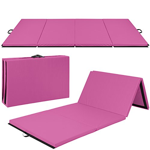 Image of the Best Choice Products Folding 10' Exercise Gym Mat for Gymnastics, Aerobics, Yoga, Martial Arts - Pink