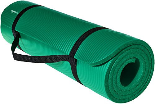 Image of the AmazonBasics 1/2-Inch Extra Thick Exercise Mat with Carrying Strap, Green