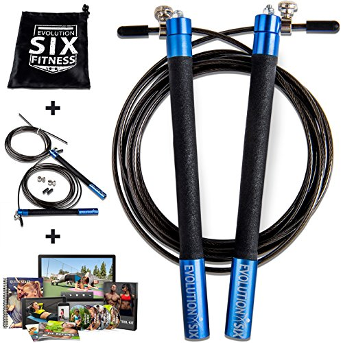 Image of the Evolution Six Jump Rope Crossfit Style Adjustable Speed Rope By Fitness | The Perfect Crossfit Jump Rope For Boxing, MMA | Extra Speed Cable And Workout System Included | Pro Jumprope