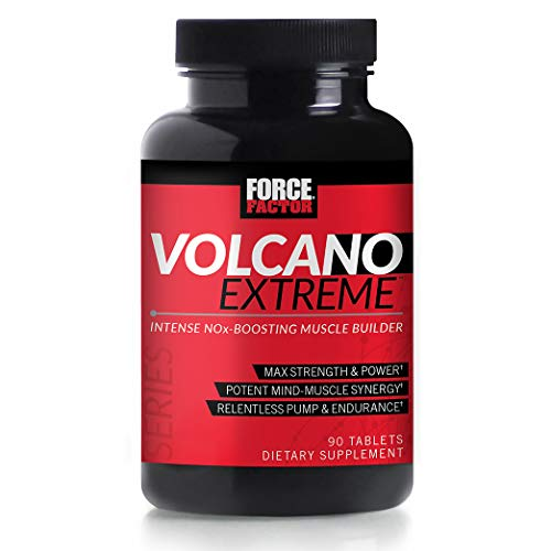 Image of the Volcano Extreme Pre-Workout Nitric Oxide Booster with NItrosigine, L-Citrulline, and CON-CRÄ'T for Muscle Pumps, Strength, Focus, Force Factor, 90ct