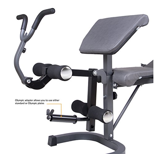 Image of the Body Champ BCB5860 Olympic Weight Bench with Preacher Curl, Leg Developer and Crunch Handle, Dark Gray/Black