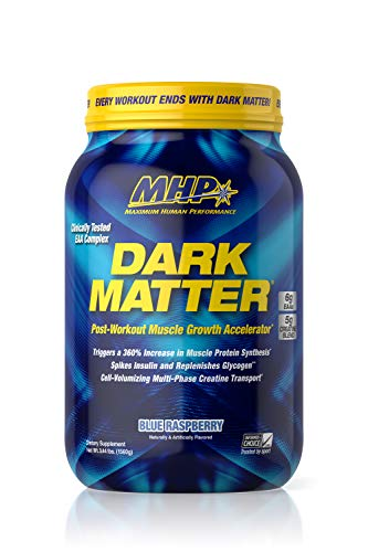 Image of the MHP Dark Matter Post Workout, Recovery Accelerator, w/Multi Phase Creatine, Wazy Maize Carbohydrate, 6g EAAs, Blue Raspberry, 20 Servings
