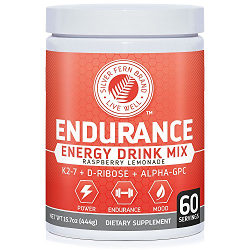 Image of the Silver Fern Brand Endurance - Pre Workout Energy Drink Mix Supplement Powder - Raspberry Lemonade - 1 Tub = 60 Servings - Boost Power, Energy & Mood - With D-Ribose, Alpha-GPC, Vitamin K2-7 & More (1)