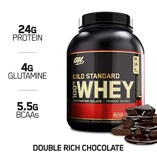 Image of the Optimum Nutrition Gold Standard 100% Whey Protein Powder, Double Rich Chocolate, 5 Pound